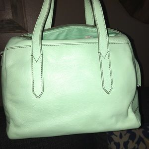 Fossil leather bag- new- never used - mint green